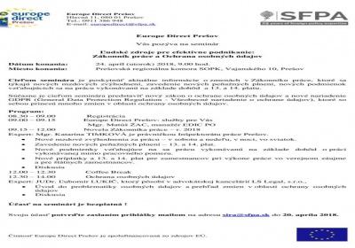 Ľudské zdroje a efektívne podnikanie: Zákonník práce a Ochrana osobných údajov